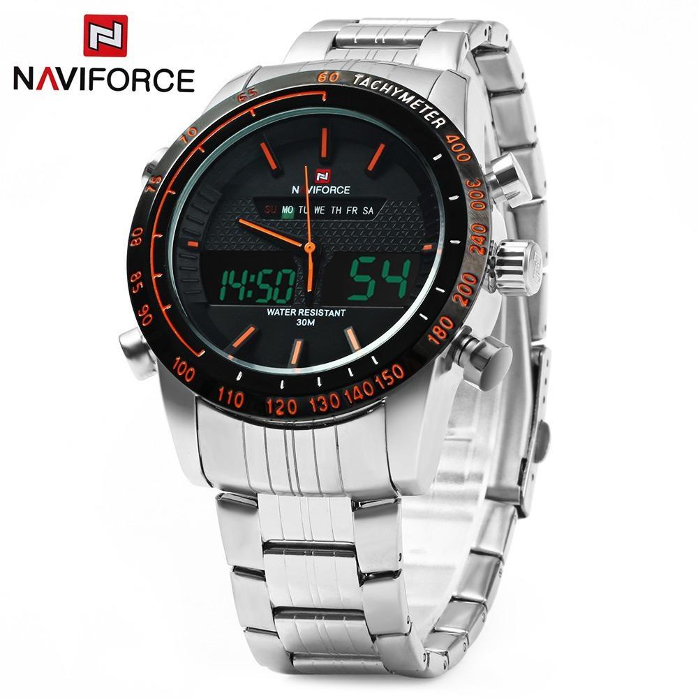 Harga Naviforce Nf9024 Dual Movt Pria Jam Quartz Analog Digital Led Wristwatch Kalender Jam Tangan Stainless Steel Strap Intl Seken