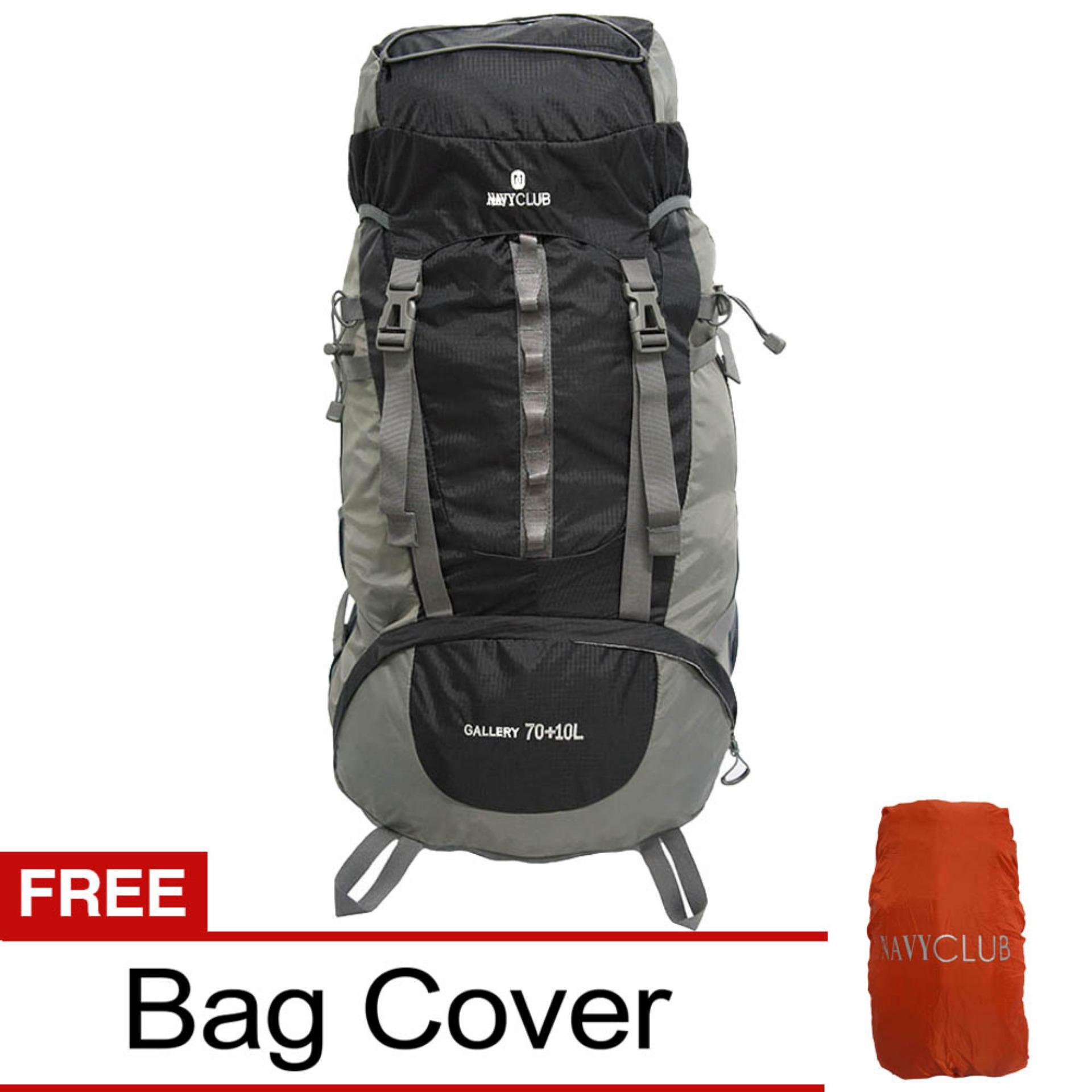 Cara Beli Navy Club Tas Hiking Backpack Ransel Travel Outdoor Carrier 5034 70 10 Liter Gratis Rain Cover Hitam Hk