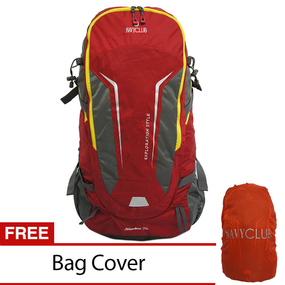 Promo Navy Club Tas Hiking Backpack Ransel Travel Outdoor Carrier 5035 70 Liter Gratis Rain Cover Merah