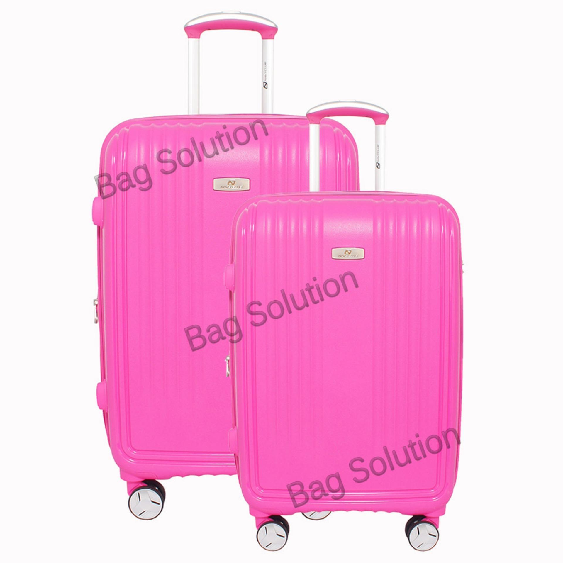 Navy Club Tas Koper Set Koper Hardcase Fiber PP - 4 Roda Putar Resleting Anti Tusuk - Kunci TSA - 3868 Size 20+24 Inch - Pink