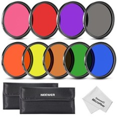 Neewer 58mm Lengkap Warna Lens Filter Set (9 Pcs) untuk Lensa Kamera dengan 58mm Filter Thread-Termasuk: Merah, Oranye, Biru, Kuning, Hijau, Coklat, Ungu, Pink dan Abu-abu Filter + Filter Carry Pouch + Kain Pembersih Lensa Microfiber-Intl