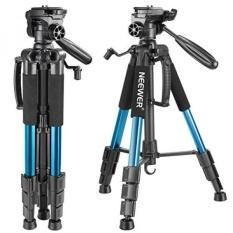 Neewer Portable 56 Inches/142 Centimeter Aluminium Kamera Tripod dengan 3 Arah Putar Pan Kepala, Carrying Bag untuk Canon Nikon Sony DSLR Kamera, DV Video Camcorder Beban Hingga 8.8 Pound/4 Kilogram (Biru)-Intl