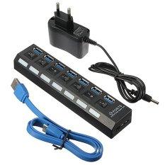 Beli Baru 7 Port Usb 3 Kecepatan Tinggi Hub On Off Switch Uk Eu Us Ac Power Adaptor Uni Eropa Online Hong Kong Sar Tiongkok