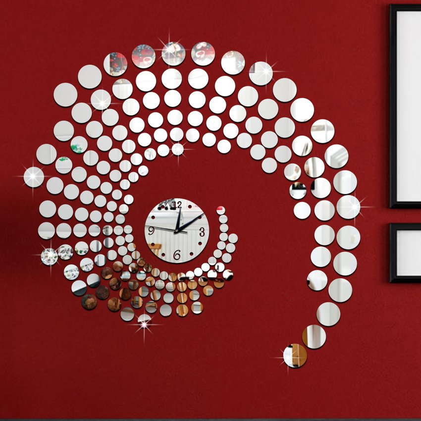 Rp 626.000. New 72x75 Cm Round Dots Swirl Polka Dekoratif Cermin Besar Jam  Dinding ... 2299a53db8