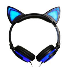 Baru Kartun Cat Ear Headphone Lipat Berkedip Glowing Earphone Gaming Headset dengan LED Light untuk Komputer PC Laptop Ponsel -biru-Intl