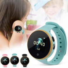 Baru Anak Watch SOS LBS + GPS + AGPS Posisi Tracker Kid Aman Anti-Kehilangan Smart Gelang Hijau- INTL
