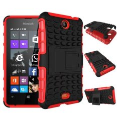 Baru Dual Layer Hybrid Armor Case Detachable 2 In 1 Shockproof Tough Rugged Case Cover untuk Microsoft Lumia 430 Case (merah) -Intl