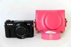 Baru Fashion untuk Canon PowerShot G7X Mark 2 G7X II G7X2 Kamera Digital PU Leather Coffee Kamera Cover + Strap (Rose Red)