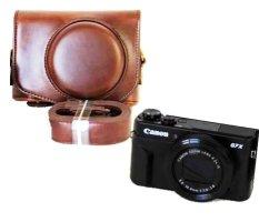 Beli Model Casing Kamera For Canon Powershot G7X Mark 2 G7X Ii G7X2 Kamera Digital Pu Kulit Kopi Penutup Kamera Tali Murah Di Tiongkok