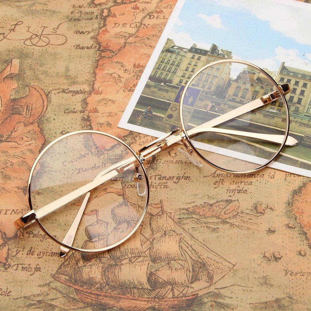New Fashion Vintage Round Circle Eyeglasses Frame Myopia Glasses Optical Rx able Gold - intl