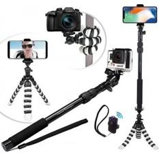 Baru HD Fleksibel Tripod & Selfie Stick 4-In-1 Bundle W/Bluetooth Remote-Terbaik Universal creator Vlog Kit untuk Telepon Apapun, goPro atau Kamera: Iphone X 8 7 6 Plus, Samsung S8, Pahlawan 5 powerShot Dll-Intl