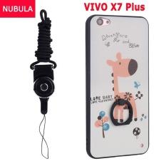 Baru Hot Sell untuk VIVO X7 Plus Case Cover Fashion Ultra-tipis 3D Stereo Relief Colorful Painting Pola Lembut Kembali Meliputi Perlindungan Case/Anti Jatuh Ponsel Cover/Tahan Guncangan Ponsel Case dengan Logam Cincin dan Ponsel Tali (jerapah) -Intl