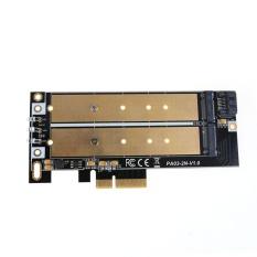Baru NGFF M.2 B/B + M KEY atau PCIE SSD Ke SATA Board Kecepatan Tinggi Kartu Adaptor- INTL (Gold)