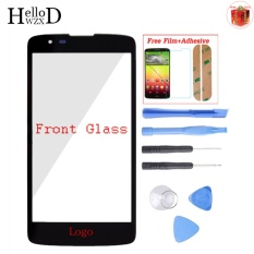 New Outer LCD Front Screen Glass Lens Cover Replacement Parts For LG K8 LTE K350N K350E K350DS + Screen Protector Filma + Free Tools Adhesive (Black) - intl