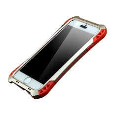 New R-just Aluminum Metal Shockproof Dust/dirt-Proof Case Gorilla Glass Silicon Rubber Metal Frame Bumper Military Heavy Duty Premium Protection Armor Case For IPhone SE/5s/5 - Gold & Red - intl