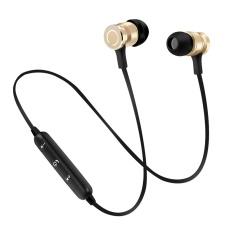 Baru S6-6 Bluetooth Headset Olahraga Wireless Menjalankan Headphone & Mikrofon untuk IPhone Android Earphone Speaker Stereo Mikrofon BT 4.1- Hitam + Emas-Intl