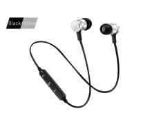 Baru S6-6 Bluetooth Headset Olahraga Wireless Menjalankan Headphone & Mikrofon untuk IPhone Android Earphone Speaker Stereo Mikrofon BT 4.1- Hitam + Silver-Internasional