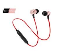 Baru S6-6 Bluetooth Headset Olahraga Wireless Menjalankan Headphone & Mikrofon untuk IPhone Android Earphone Speaker Stereo Mikrofon BT 4.1- Merah + Rose Emas-Intl