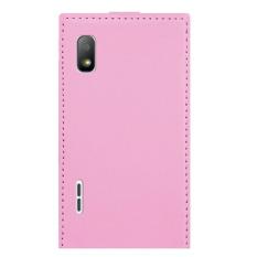 Baru Kulit Sintetis Flip Kulit Cover untuk LG Optimus L5 E610 E612 (Pink)