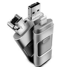 Terbaru 3 In 1 OTG USB3.0 Flash Drive 256 GB Logam Pen Drive untuk Apple Android dan Windows Perangkat PC /MAC Komputer-Silver-Intl