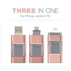 Terbaru 3 In 1 OTG USB3.0 Flash Drive 64 GB Logam Pen Drive untuk Apple Android dan Windows Perangkat PC /MAC Komputer-Rose Gold-Intl