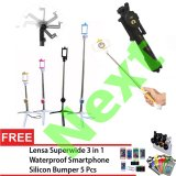 Diskon Next Tongsis 3 In 1 Selfie Stick Built In Bluetooth Tripod Hitam Lensa Superwide Waterproof Smartphone Silicone Bumper 5 Pcs Next Banten