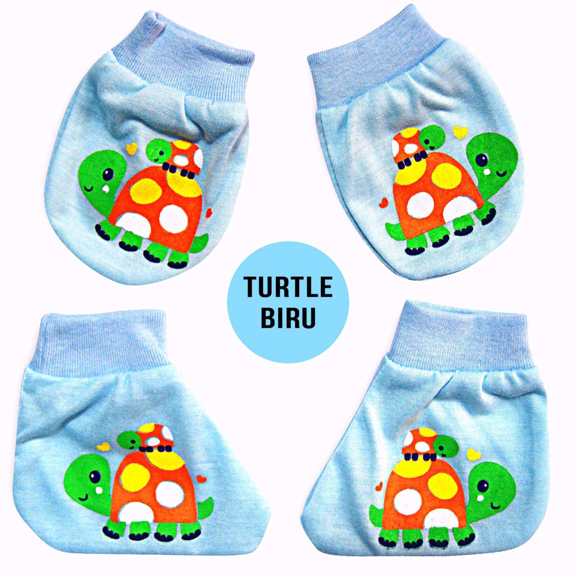 Nice Baby Set Sarung Tangan dan Sarung Kaki Bayi Motif Turtle - Biru