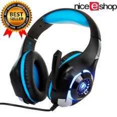 NiceEshop 2016 headphone Terbaru, YUNQE GM-1 3,5mm Headset Gaming, Lampu LED Over Ear Headphone With Kontrol Volume Mikrofon For PC/XBOX ONE/laptop/tablet/Playstation 4 (biru + Hitam) -Internasional