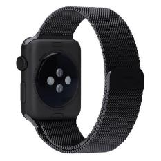 NiceEshop 38mm Milanese Magnetic Loop Stainless Watch Band Tali To Apple Watch (hitam)
