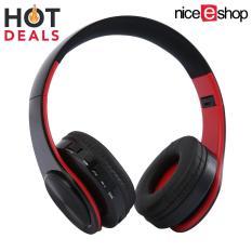 Diskon Niceeshop Aktif Kebisingan Membatalkan Headphone Nirkabel Bluetooth Headset Nirkabel Olahraga Lipat Hitam Merah International