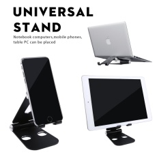 niceEshop Adjustable Tablet Stand, Aluminum Multi-Angle Foldable Universal Stand Holder For IPhone/iPad/Tablets/Phones/Kindle/Macbook/Laptops, Black - intl