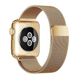Review Niceeshop Apple Watch Band Magnetic Clasp Mesh Loop Milanese Stainless Steel Replacement Strap For Apple Watch Sport Edition 38Mm Gold Intl Terbaru