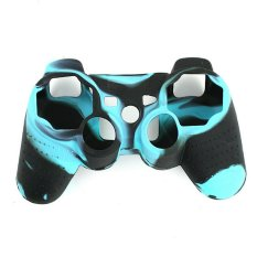 NiceEshop Hitam dan Biru Super Grip Glow Lapisan Pelindung Kulit Silikon untuk Sony PlayStation PS3