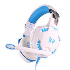 Review Niceeshop Setiap G2100 Fungsi Pc Laptop Getaran Profesional Headphone Gaming Headset Dengan Mikrofon Stereo Permainan Bass Cahaya Led Biru Putih Terbaru