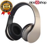 Review Toko Niceeshop Bluetooth Nirkabel Stereo Headphone Rops Edr Alat Pendengar Mikrofon Mp3 Fm Headset Untuk Ponsel Pintar Tablet Emas Hitam