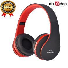 niceEshop headphone stereo headset Bluetooth nirkabel lipat alat pendengar (Hitam dan Merah)