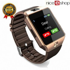 NiceEshopDZ09 Smartwatch Bluetooth Smart Watch Android Phone Call SIM TF Kamera untuk Android Telepon, Emas