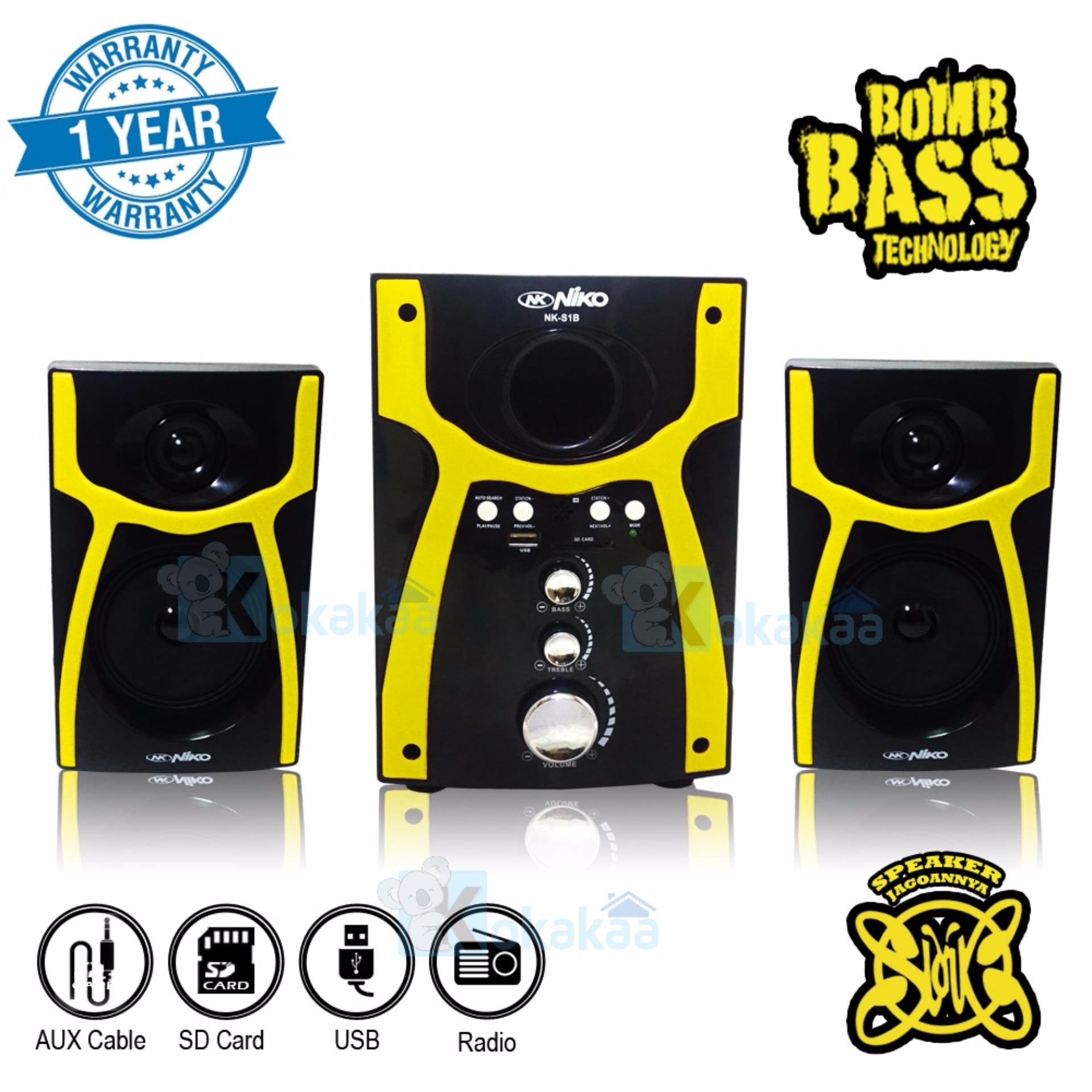 Promo Niko Slank Speaker Super Woofer Bomb Bass Technology Pengeras Suara Nk S1X Kuning Di Indonesia