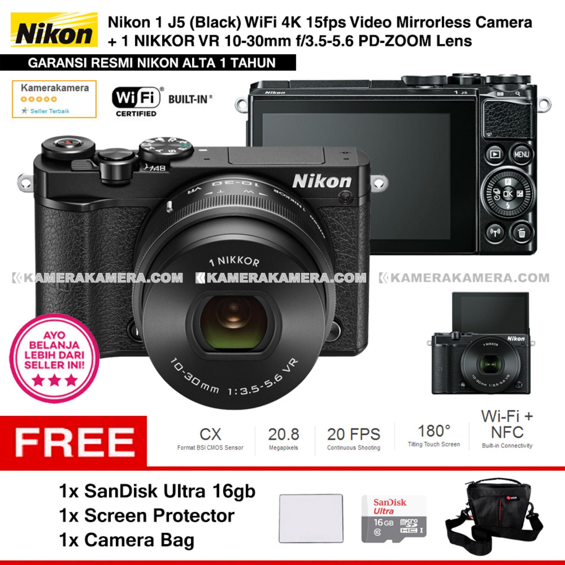 NIKON 1 J5 (BLACK) WiFi 4K Mirrorless Camera VR 10-30mm Lens - Resmi Nikon Alta + MicroSD SanDisk Ultra 16gb + Screen Protector + Camera Bag