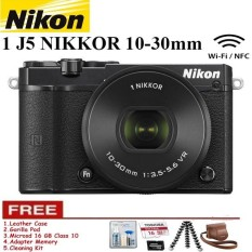 NIKON 1 J5 (BLACK) WiFi 4K Mirrorless Camera VR 10-30mm Lens Free Memory 16GB + Leather Case + Gorilapod + Cleaning Kit Garansi Resmi