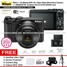 NIKON 1 J5 (BLACK) WiFi 4K Mirrorless Camera VR 10-30mm Lens - Resmi Nikon Alta + MicroSD SanDisk Ultra 16gb + Screen Protector + Camera Bag + Takara ECO-193A