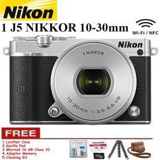 NIKON 1 J5 (SILVER) WiFi 4K Mirrorless Camera VR 10-30mm Lens Free Memory 16GB + Leather Case + Gorilapod + Cleaning Kit Garansi Resmi