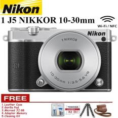 NIKON 1 J5 (SILVER) WiFi 4K Mirrorless Camera VR 10-30mm Lens Free Memory 32GB + Leather Case + Gorilapod + Cleaning Kit Garansi Resmi