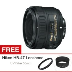 Nikon AF-S 50mm f/1.8G, Free UV Filter 58mm dan Lenshood HB-47