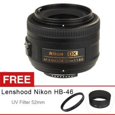 Nikon AF-S DX 35mm f/1.8G, Free UV Filter 52mm dan Lenshood HB-46