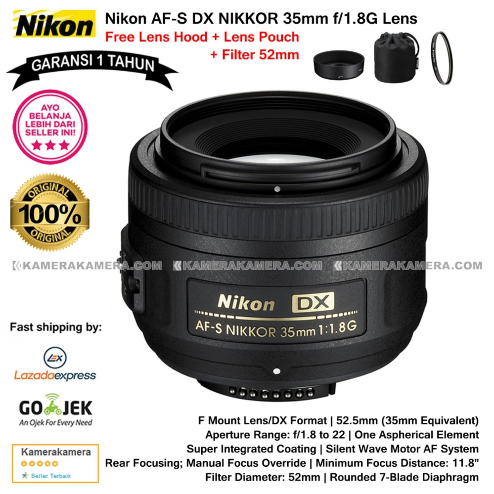 Nikon AF-S DX NIKKOR 35mm f/1.8G DX Lens (Garansi 1th) for Nikon DSLR Free Lens Hood + Lens Pouch Original + Filter 52mm