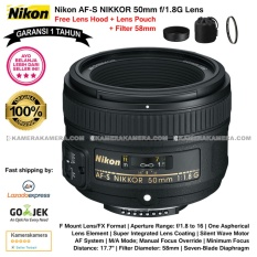 Nikon AF-S NIKKOR 50mm f/1.8G Lens (Garansi 1th) for Nikon DSLR Free Lens Hood + Lens Pouch Original + Filter 58mm