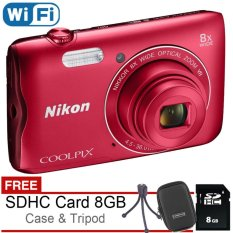 Nikon Coolpix A300 Wifi 20MP - Free SDHC 8GB + Case + Mini Tripod