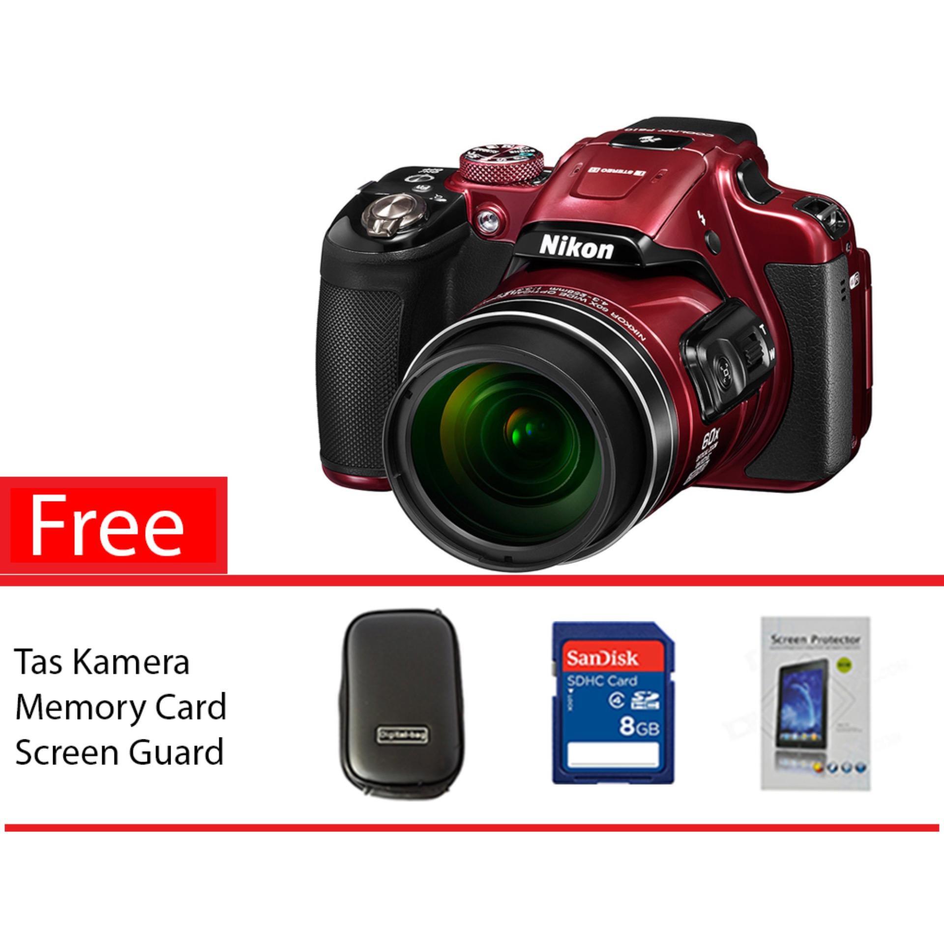 Nikon Coolpix B700 20MP Digital Camera Red Free Memory Card, Screen Guard, Tas Kamera