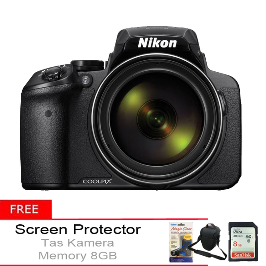Harga Nikon Coolpix P900 16Mp 83X Optical Zoom Hitam Gratis Tas Kamera Memory 8Gb Screen Protector Paling Murah